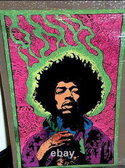 1960s Original Jimi Hendrix Black Light Poster. Rare Authentic Joe Roberts Jr