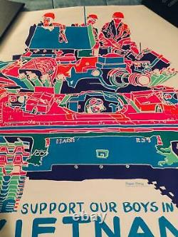 1970 Vintage Support Our Boys In Vietnam Black Light Poster 24x 35 (RARE!)