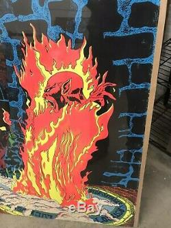 1970's Lucifer Rege Rising SATANAS Satan Black Light Poster Large