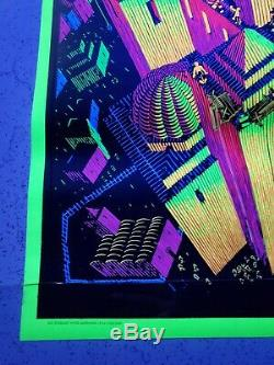 1970s Original M. C. Escher TOWER OF BABEL Blacklight Poster Psychedelic NOS