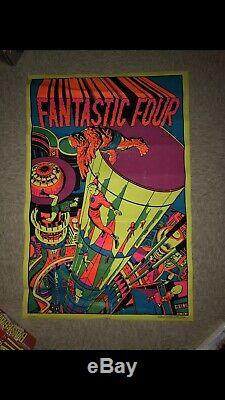 1971 Marvel Fantastic Four Jack Kirby Third Eye Blacklight Poster 21 X 33
