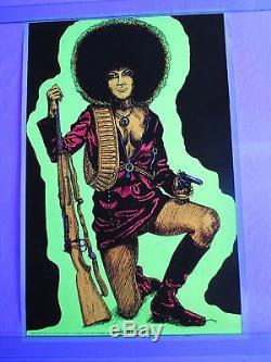 1972 Angela Davis Blacklight Poster BLACK PANTHERESS PANTHER Civil Rights RARE