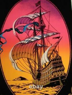 1972 Vintage Velvet Blacklight Poster Beautiful Ship Sailboat The Voyage 17x11
