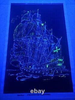 1973 Vintage Blacklight Poster Beautiful Ship Sailboat Phantom Clipper Rare