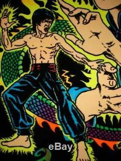 1975 Rare Vintage Blacklight Bruce Lee Dragon Poster Kung Fu Master Aa Sales
