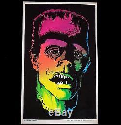 1975 Vintage Black Light Poster Frankenstein Frankmonster Aa Sales Rare Pinup