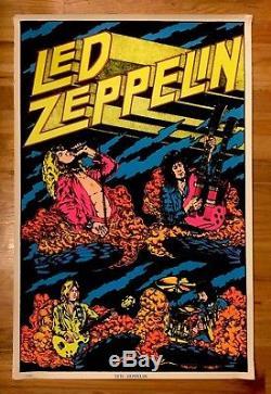 1980's Retro Led Zeppelin Felt Black Light Poster