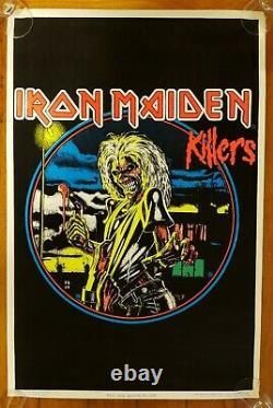 1988 IRON MAIDEN killers BLACKLIGHT POSTER VERY NICE CONDITION NO PIN HOLES