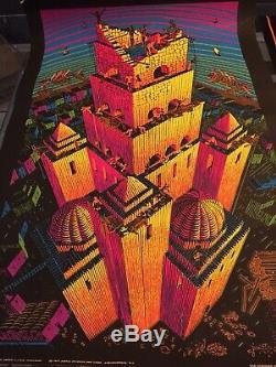 2 Lot Vtg 70s MC Escher Evans Psychedelic Blacklight Poster Velvet Art Large USA