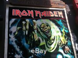 2 Original Vintage Iron Maiden Velvet Blacklight Poster Number of the Beast 1983