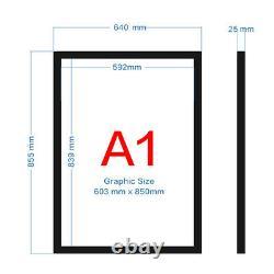 A1 illuminated Snap Frame LED Light Box Menu Show Poster Display Black