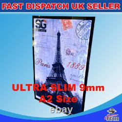 A2 Slim 9mm advertisement poster retail menu display Led Light Box Black boarder