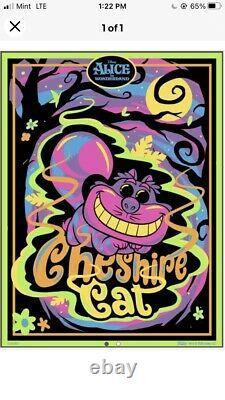 ALICE IN WONDERLAND CHESHIRE CAT Black Light Poster FUNKO EXCLUSIVE IN HAND! New