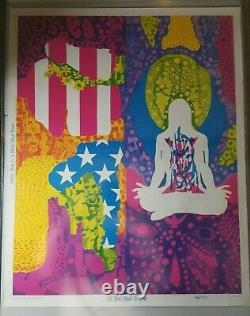 ALL YOU NEED IS LOVE 1967 VINTAGE PSYCHEDELIC BLACKLIGHT POSTER By Chatfield