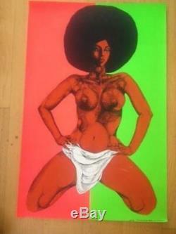 Afro-Dite Vintage Black Light 1970 Poster 28 X 42