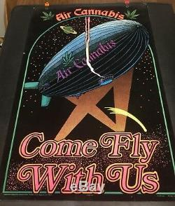 Air Cannabis Come Fly With Us Vintage Blacklight Poster Rare
