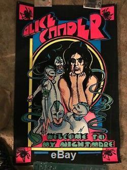 Alice Cooper Welcome To My Nightmare Felt Black Light Poster 1975 Good Vintage