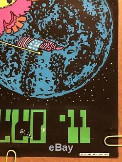 Apollo 11 Original Vintage Blacklight Poster Moon Landing NASA 1969 Pro Arts 60s