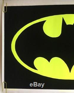 Batman Original Vintage Blacklight Poster Flocked Velvet 1960s Pin-up DC Comics