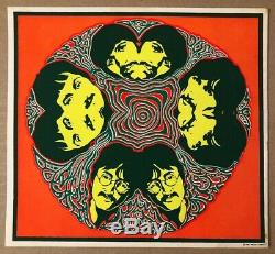 Beatles Mandala Original Vintage Blacklight Poster Psychedelic Miller Sirkia 60s