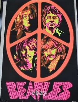 Beatles Peace Blacklight Poster Vintage 1960s John Paul George & Ringo