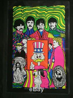 Beatles Rare Hitler, Scrooge, Vintage Original Black Light Poster Prints Mint