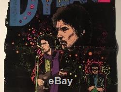 Bob Dylan Original Vintage Blacklight Poster Velvet Flocked 1970s Music Pin-up