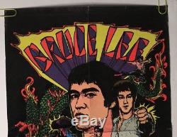 Bruce Lee Blacklight Original Vintage Poster Pin-up Martial Arts Collage Movie