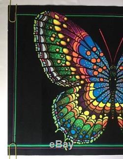 Butterfly Original Vintage Blacklight Poster Pin-up 1970's Psychedelic Velvet