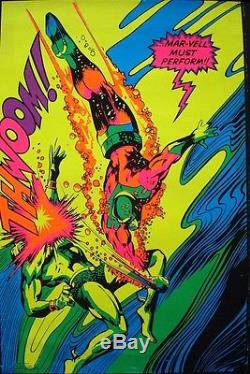 CAPTAIN MARVEL AND SUBMARINER MARVEL THIRD EYE Black light poster Gene COLAN