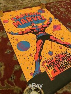 Captain Marvel Blacklight Poster Original Third Eye INC. Holocaust Hero 1971 70s