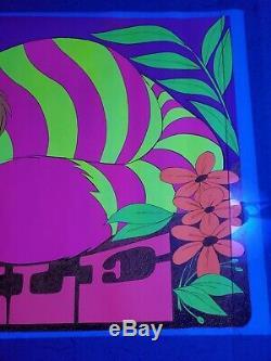 Cheshire Cat Alice in Wonderland Vintage Black Light Poster SMILE 1970