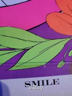 Cheshire Cat Alice in Wonderland Vintage Black Light Poster SMILE 1970 Awesome