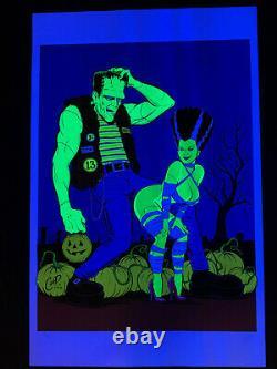 Coop Trick or Treat Art Print Poster Frankenstein Bride Signed Blacklight Mint
