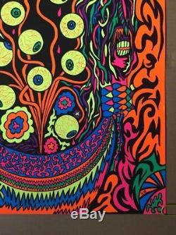 Eyeballs Vintage Blacklight Poster Psychedelic Eyes Pin-up 1970's Eye Trippy 70s