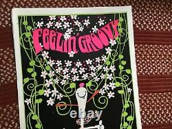 FEELIN' GROOVY 1970's VINTAGE BLACKLIGHT NOS POSTER PEANUTS SNOOPY -NICE