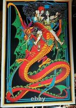 FLYING DRAGON 1970's VINTAGE PSYCHEDELIC BLACKLIGHT POSTER By AA Sales
