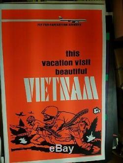 FLY FAREASTERN AIRLINES VIETNAM WAR 1970's VINTAGE BLACKLIGHT NOS POSTER -NICE