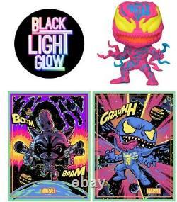 Funko POP! Marvel Carnage Black Light With Groot Venom Black Light Poster Bundle