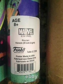 Funko pop Blacklight Venom Poster and Groot with Rocket Raccoon Blacklight Poster