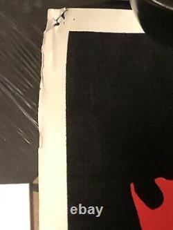 GUNS N' ROSES 1993 Vintage Black light Felt Velvet Poster Skull N' Roses Flag