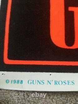 GUNS N' ROSES rare 1988 Black Light Felt Poster VGC