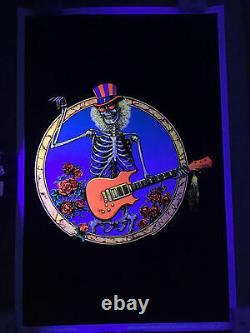 Grateful Dead Philip Garris Skeleton With Guitar And Roses Blacklight Poster