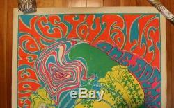 Jefferson Airplane Poster Alice in Wonderland 1960s Black Light Psychedelic Rare