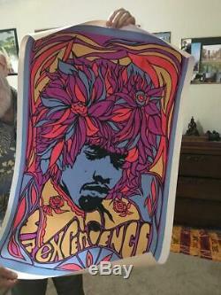 Jimi Hendrix Blacklight Poster Pandora 1967