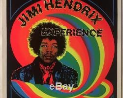 Jimi Hendrix Experience Vintage Blacklight Poster Psychedelic Pin-up Rainbow
