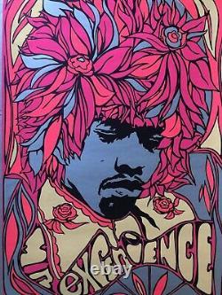 Jimi Hendrix Original Vintage Blacklight Poster Psychedelic Flower Hair Pandora
