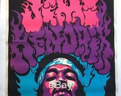Jimi Hendrix Original Vintage Blacklight Poster Psychedelic Pin-up 1970s Beeghly