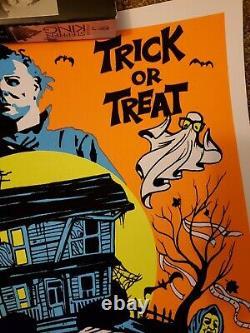 John Carpenter's Halloween Michael Myers Blacklight Flocked Velvet Poster Print