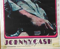 Johnny Cash Vintage Blacklight Poster Original 1970 Beeghley Pin-up Dayglow UV